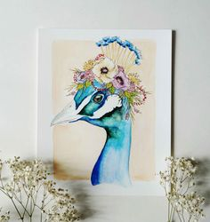A vibrant peacock with a colorful floral crown. ▼Size: 8 x 10 ▼Medium: Watercolor and Ink ▼Printed on 100% cotton, acid free fine art paper ▼Signed by artist ▼Listing includes: 1 Print View shop policies for more information or feel free to send me a message. Thank you for stopping by