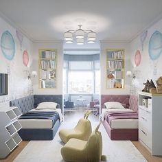 Exquisite room for your kids. Another shared boy/girl room idea. Love the separate sitting area! Boy And Girl Shared Room, Boy Girl Bedroom, Girl Room, Room Boys, Kids Bedroom Designs, Kids Room Design, Sibling Room, Room Deco, Shared Bedrooms