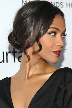 For Zoe Saldana's deep brunette hair color, ask your stylist for Aloxxi Hair Color Personality ESPRESSO YOURSELF® | Brown Hair | Brunette Hair Color | Updo | Celebrity Hair | #WhatsYourColorPersonality