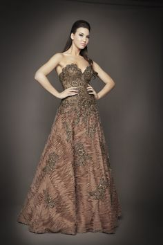 Mac Duggal Fall 2012 Couture Dresses - Mink Tulle & Lace Strapless Sweetheart Couture Gown - 2 - 14  [Item#26904-50099D]