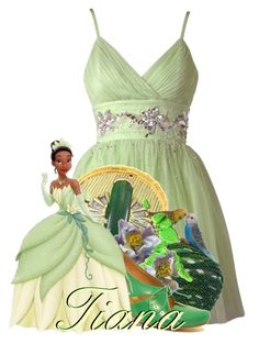 """Princess Tiana from Princess and The Frog"" by magykgirlz ❤ liked on Polyvore featuring Lipsy, David Webb, Sarah's Bag and TRACEY NEULS"