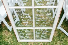 DIY Guest Seating Chart - Vintage Window - Photography by Kim Cartmell