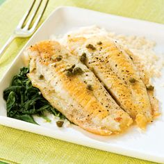 Flounder Piccata with Spinach