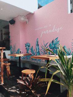 Another day in vegan paradise: KYND Coffee Shop Design, Cafe Design, Store Design, Bali Restaurant, Beach Cafe, Café Bar, Mural Wall Art, Restaurant Interior Design, Decoration