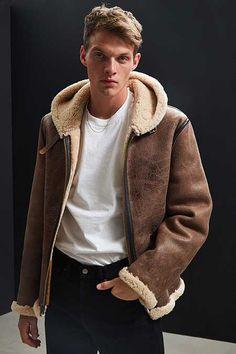 Schott Vintage Sheepskin Hooded Bomber Jacket