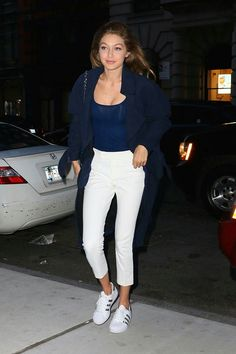 Gigi & Bella Hadid Get In Some Sisterly Bonding Time: Photo Gigi Hadid and her sister Bella step out together for dinner at Nobu on Thursday night (June in the Tribeca neighborhood of New York City. The models enjoyed… Estilo Gigi Hadid, Gigi Hadid Style, Sneaker Outfits, Dope Fashion, Girl Fashion, Gigi Hadid Outfits, Cool Outfits, Casual Outfits, Casual Wear