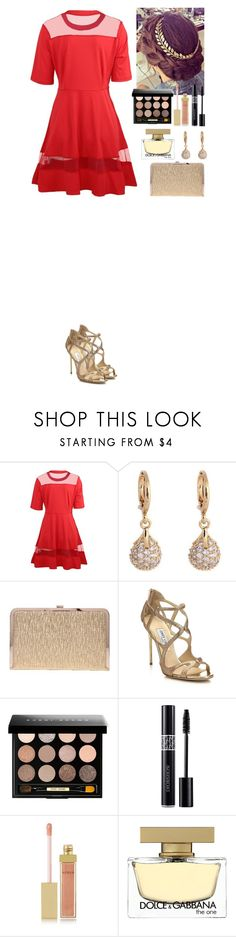 """""""Event TOMTOP"""" by eliza-redkina ❤ liked on Polyvore featuring Jimmy Choo, Bobbi Brown Cosmetics, Christian Dior, AERIN, Dolce&Gabbana, outfit, like, look, event and tomtop"""