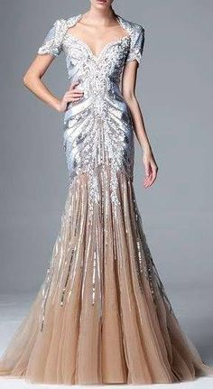 Zuhair Murad RTW Pre-FW  2014-2015 | silver beaded and embellished | flared | evening gown | high fashion