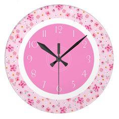 Pink Little Butterfly Wall Clock #butterfly #butterflies #clock #WallClock #RoundClock #KitchenClock #pink