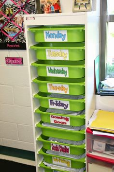 Put each day's handouts/materials in the corresponding box! Love this idea! #IKEA