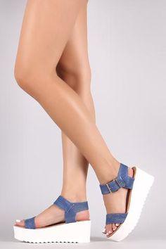 09aaf71740 Open Toe Ankle Strap Platform Wedge Wedges, Denim, Womens Fashion, Strap  Heels,