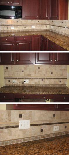 A Beautiful Kitchen Backspash With Travertine U0026 Metal Deco Inserts!  #travertine #backsplash #