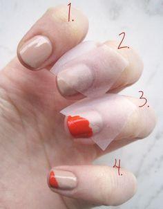 Diagonal French tips.