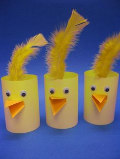 paper roll chick Crafts and Worksheets for Preschool,Toddler and Kindergarten - Paper Crafts Easter Art, Easter Crafts For Kids, Toddler Crafts, Diy For Kids, Farm Crafts, Cute Crafts, Preschool Crafts, Diy And Crafts, Toilet Paper Roll Crafts