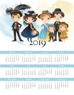 Free Printable 2019 Mary Poppins One Page Calendar - The Cottage Market Christmas Scenes, 1st Christmas, Mary Poppins, Free Printable Calendar, Free Printables, Printable Paper, Angry Birds, Minions, Comic Party