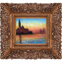 Claude Monet 'San Giorgio Maggiore by Twilight' Hand Painted Framed... (€155) ❤ liked on Polyvore featuring home, home decor, wall art, gold, landscape painting, canvas painting, landscape wall art, sunset painting and canvas oil paintings