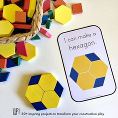 The new ebook focusing on developing a child's love of blocks and building to extend their learning across the STEAM curriculum and literacy areas. With over 100 printables including these shape challenge cards! Perfect for children aged yrs Math Activities For Kids, Math For Kids, Math Games, Maths, Homeschool Math, Homeschooling, Stem Projects, Child Love, Kindergarten Activities