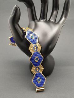 Blue and Gold Miyuki Delica Bead Rhombus Bracelet