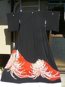 tomesode w/ kiku Traditional Kimono, Traditional Outfits, Kimono Tutorial, Japan Style, Japanese Patterns, Kimono Fabric, Rising Sun, Japanese Outfits, Yukata