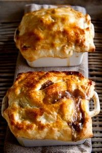 Steakhouse Pot Pie with Mushrooms & Cabernet Wine  ~  Don't be fooled by the list of ingredients — it's really not difficult and uses puff pastry to save loads of work on the crust. For the kids, you can use potatoes instead of mushrooms.