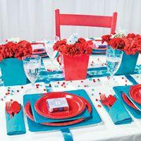 festa vermelho e azul