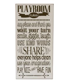 Cream & Brown Playroom Rules Wall Art   Daily deals for moms, babies and kids