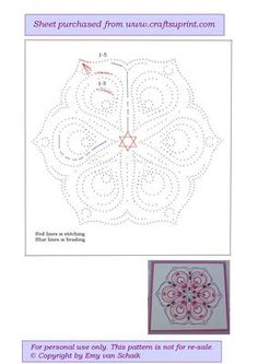 ED023 Lotus mandala on Craftsuprint designed by Emy van Schaik - Stitching with beads - Now available for download!