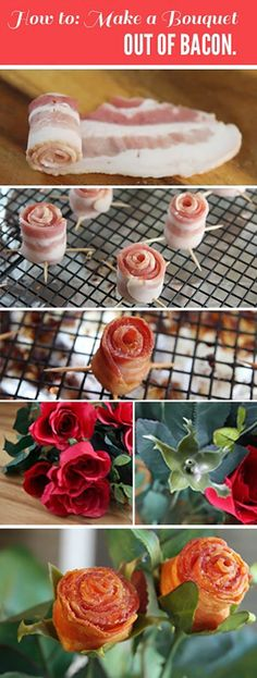 Bacon Bouquet…I made some these last year--my hubby LOVED them. To cook after you roll them & insert toothpicks...I put a little bit white bread in the bottom of a muffin tin then set the buds in it. Bread collects the grease and becomes bacon flavored croutons as it bakes.