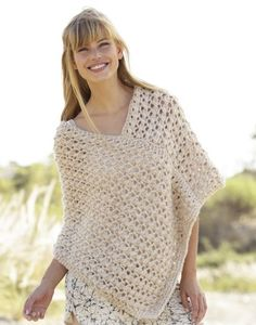 Creme Caramel / DROPS - Knitted DROPS poncho with lace pattern in 1 thread Cloud or 2 threads Air Nordic Mart - DROPS design one-stop source for Garnstudio yarns, free crocheting and knitting patterns, crochet hooks, buttons, knitting needles and notions. Knitting Patterns Free, Free Pattern, Free Knitting, Knitting Needles, Free Crochet, Knit Crochet, Crochet Tops, Ravelry Crochet, Crochet Shawl