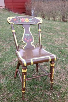 Vintage Plank Bottom Chair Hand Painted Wood By WildBoarDesigns