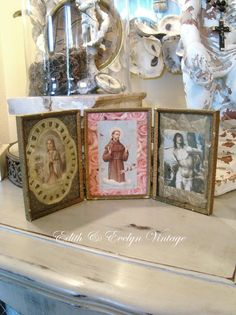 Vintage Religious Shrine Triptych Handmade by edithandevelyn on Etsy