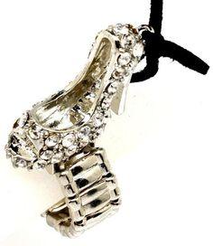 Amazon.com: Adorable Peep Toe Pump Shoe Ring Crystal High Heel Stretch Silver Tone: Jewelry