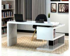 White Modern Home Office Desk with Return