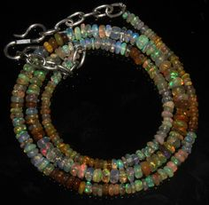 """28 Crts 1 Necklace 2to4mm 15"""" Beads Natural Ethiopian Welo Fire  Opal  56649"""