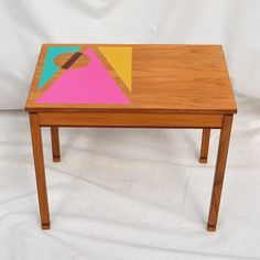 Mid Century Solid Teak Coffee Table  Hand Painted  by RECOVERTEAM - Love the motif!!!