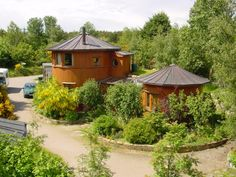 whiskey barrel houses at the findhorn foundation near forres in scotland.