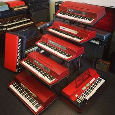 Being in the red isn't always bad! This might be the largest group of original Red Wurlitzer 200 electric pianos you'll ever see! ;-) Farfisa compact Vox continental Hammond organ red wurly fender rhodes