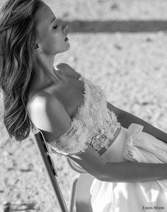 eisen stein 2018 bridal off the shoulder straight across neckline crop top high slit skirt romantic a line wedding dress with pockets sweep train zv -- Eisen Stein 2018 Wedding Dress Two Piece Wedding Dress, Wedding Dress With Pockets, Bridal Looks, Bridal Style, Bridal Dresses, Wedding Gowns, Bridal Gown, Blush Bridal, Chiffon