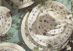 Finlandia Pattern of English Johnson Brothers China.  This pattern has been retired.  It is my favorite China Design as it brings a fresh and pretty tablescape into entertaining. Also, it reminds me of old fashioned Minnesota Farm Suppers.  The comfort and pleasure of real food and real people sharing real love!