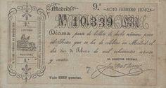 Boleto por la décima parte del billete del número 10.339 para el sorteo de la lotería nacional que se celebra en Madrid el día 10 de febrero de 1874
