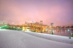 Pittsburgh during a snow storm.   This is a shot of the Pittsburgh skyline early in the morning during a snow storm we had in January.