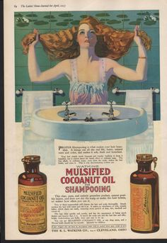 Original Ladies Home Journal ad for Watkins Mulsified Cocoanut Oil shampoo, art by Coles Phillips Watkins Co. - beauty81 by PaperDhamma on Etsy https://www.etsy.com/listing/199439633/original-ladies-home-journal-ad-for