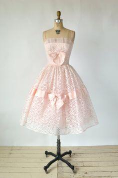 1950s Pink Lace Party Dress Vintage Prom Dress by DalenaVintage