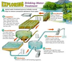 A diagram shows the six steps of a typical drinking water-treatment plant: first filtration (screens remove fish, leaves and trash), c.