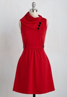 Coach Tour A-Line Dress in Rouge - Red, Solid, Buttons, A-line, Sleeveless, Casual, Fall, Best Seller, Cowl, Work, Variation, Winter, Basic, Knit, Nautical, Maternity, WPI, Full-Size Run, Mid-length, Pockets, Good, Top Rated, Colorsplash, Americana, Fit & Flare, Best Seller