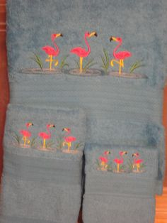 Bath Towel Set - Pink Flamingos by cybergeeks2 on Etsy