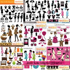 Mom to be clip art mega bundle sale. Fun clipart for baby shower projects! This big bundle features pregnant women in silhouette, baby carriage, baby nursery decor, balloons, and more fun graphics! Get all 9 sets at affordable price! This digital clipart bundle is great resource for