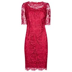 Buy Jacques Vert Luxury Lace Tunic Dress, Scarlet Online at johnlewis.com