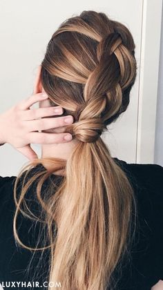 Braided ponytail hairstyles are e. No wonder that many simple ponytail hairstyles such. How do you find them idea? Box Braids Hairstyles, Braided Ponytail Hairstyles, Work Hairstyles, Trending Hairstyles, Ponytail Updo, Ponytail Bump, Fancy Ponytail, Balayage Hairstyle, Brunette Hairstyles