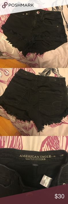 AE high waisted shorts cute, high waisted shorts only worn a couple of times last summer! they have a destroyed denim look at the bottom. super cute and comfortable ! American Eagle Outfitters Pants